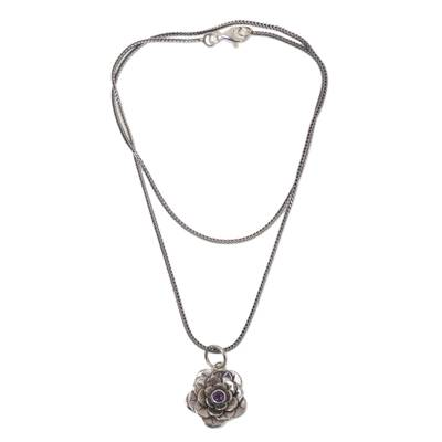 Artisan Crafted Silver and Amethyst Flower Necklace