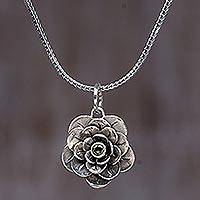Peridot flower necklace, 'Holy Lotus' - Sterling Silver and Peridot Pendant Necklace