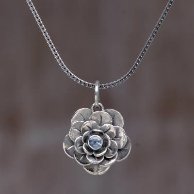 Blue topaz flower necklace, 'Holy Lotus' - Handcrafted Floral Silver and Blue Topaz Necklace