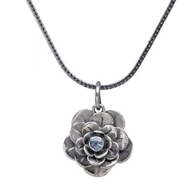 Handcrafted Floral Silver and Blue Topaz Necklace