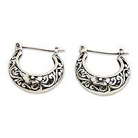 Sterling silver flower earrings, 'Moonlit Frangipani' - Fair Trade Floral Sterling Silver Hoop Earrings