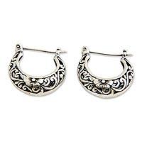 Sterling silver flower earrings, 'Moonlit Frangipani' - Fair Trade Floral Sterling Silver Hoop Earrings