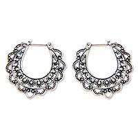 Sterling silver flower hoop earrings, 'Moon Blooms' - Unique Floral Sterling Silver Hoop Earrings