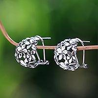 Sterling silver flower earrings, 'Geraniums' - Unique Handcrafted Floral Hoop Earrings from Indonesia