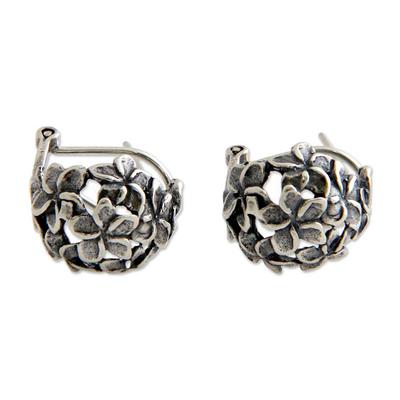 Sterling silver flower earrings, 'Geraniums' - Floral Sterling Silver Half Hoop Earrings