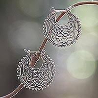 Sterling silver hoop earrings, 'Moonlit Stars'