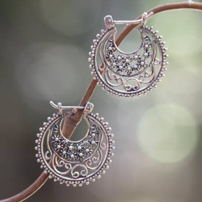 Sterling silver hoop earrings, 'Moonlit Stars' - Floral Sterling Silver Hoop Earrings