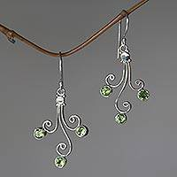 Peridot dangle earrings, 'Lime Trio' - Sterling Silver and Peridot Dangle Earrings