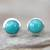 Sterling silver stud earrings, 'Blue Moons' - Silver and Reconstituted Turquoise Stud Earrings (image 2) thumbail