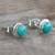 Sterling silver stud earrings, 'Blue Moons' - Silver and Reconstituted Turquoise Stud Earrings (image 2b) thumbail