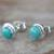 Sterling silver stud earrings, 'Blue Moons' - Silver and Reconstituted Turquoise Stud Earrings (image 2c) thumbail