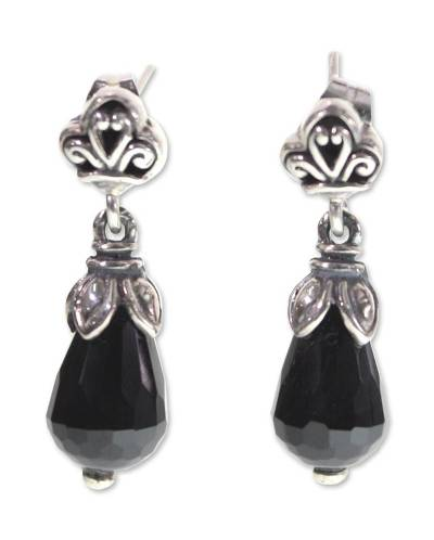 Onyx dangle earrings, 'Affinity' - Onyx dangle earrings