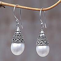 Pearl dangle earrings, 'Mystic Bells' - Sterling Silver and Pearl Dangle Earrings