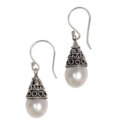 Pearl dangle earrings, 'Mystic Bells' - Sterling Silver and Pearl Dangle Earrings