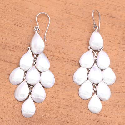 Sterling silver waterfall earrings, 'Shower of Petals' - Handcrafted Sterling Silver Chandelier Earrings