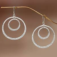 Sterling silver dangle earrings, 'Moon Orbit' - Sterling silver dangle earrings