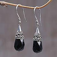 Onyx dangle earrings, 'Bali Sentinel' - Hand Crafted Sterling Silver Onyx Earrings