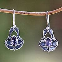 Amethyst drop earrings, 'Sweet Pea' - Handcrafted Sterling Silver and Amethyst Earrings