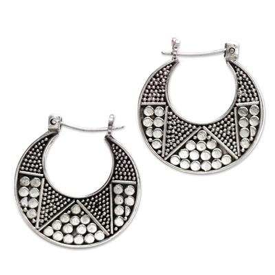 Hand Crafted Sterling Silver Hoop Earrings