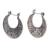 Sterling silver hoop earrings, 'Crescent' - Hand Crafted Sterling Silver Hoop Earrings (image 2b) thumbail