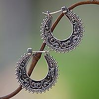Sterling silver hoop earrings, 'Kuta Moon'