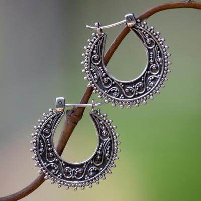Sterling silver hoop earrings, 'Kuta Moon' - Artisan Crafted Sterling Silver Hoop Earrings