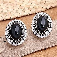 Onyx button earrings, 'Island Aura' - Sterling Silver and Onyx Button Earrings
