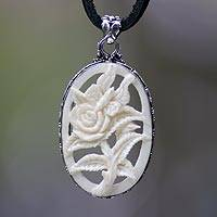 Leather and cow bone flower necklace, 'Butterfly Rose' - Original Bone Carved Rose with Butterfly Necklace