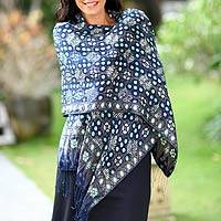 Silk batik shawl, 'Royal Art' - Silk Batik Shawl in Shades of Blue