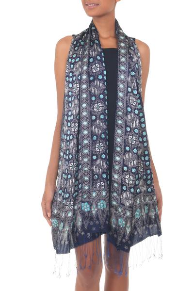 Silk batik shawl, 'Royal Art' - Blue Batik Silk Patterned Shawl