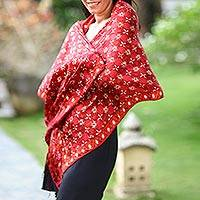 Silk batik shawl, 'Java Crimson Court' - Red Silk Batik Shawl Wrap