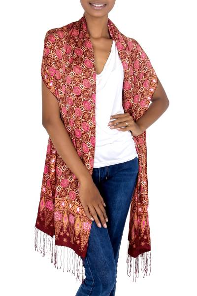 Silk batik shawl, 'Java Crimson Court' - Red Silk Batik Shawl Wrap