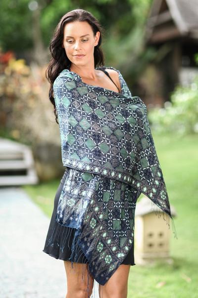 Silk batik shawl, 'Java Starlight' - Fair Trade Batik Silk Patterned Blue Shawl