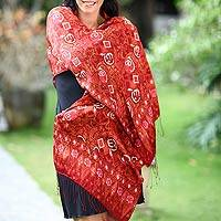 Silk batik shawl, 'Red Modern Art'