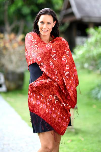 Silk batik shawl, Red Modern Art