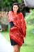 Silk batik shawl, 'Red Modern Art' - Handmade Silk Batik Shawl  thumbail