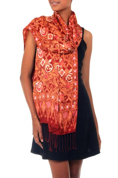 Silk batik shawl, 'Red Modern Art' - Handmade Silk Batik Shawl