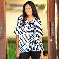 Cotton batik blouse, 'Island Life' - Batik Cotton Patterned Blouse in Black and White