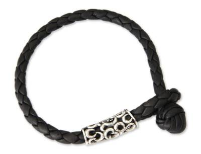 Hand Crafted Leather and Silver Bracelet