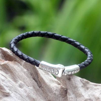 Leather braided bracelet, 'Pulse' - Sterling Silver and Braided Leather Bracelet