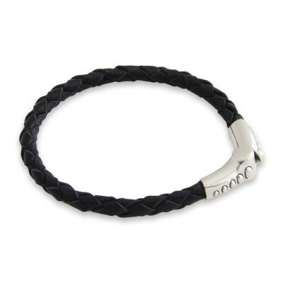 Sterling Silver and Braided Leather Bracelet