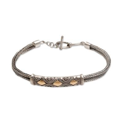 Sterling silver wristband bracelet, 'Majapahit Princess' - Sterling Silver and Gold Accent Chain Bracelet