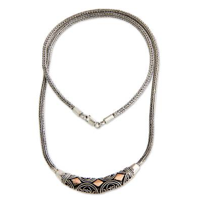 Sterling silver pendant necklace, 'Majapahit Princess' - Sterling Silver and 18k Gold Overlay Necklace