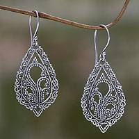 Sterling silver flower earrings, 'Fern Flowers'