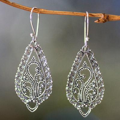 Sterling silver flower earrings, 'Fern Flowers' - Handcrafted Floral Sterling Silver Dangle Earrings