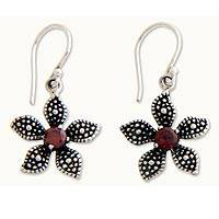 Garnet flower earrings, 'Periwinkle' - Garnet flower earrings