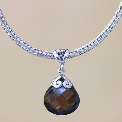 Smoky quartz pendant necklace, 'Borobudur Petal' - Unique Sterling Silver and Smoky Quartz Necklace