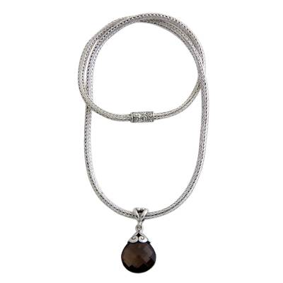 Smoky quartz pendant necklace, 'Borobudur Petal' - Unique Sterling Silver and Smoky Quartz Necklace