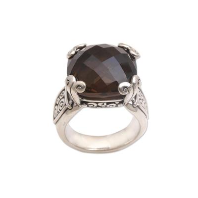 Smoky quartz cocktail ring, 'Glistening Borobudur' - Sterling Silver and Smoky Quartz Ring from Bali