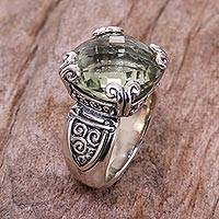 Prasiolite cocktail ring, 'Glistening Borobudur' - Silver Embossed Ring with Lovely Green Prasiolite